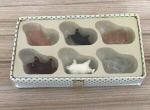Vintage -set of Miniature 6 glass pigs *original Unopened Box *3cmL X 2cmH Each