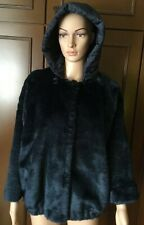 Faux fur jacket with a hood Max Mara Woman, dark blue, size 48,with two pockets