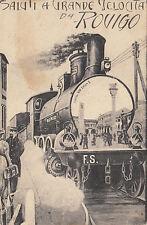 NP5253 - ROVIGO - SALUTI A GRANDE VELOCITA TRENO VIAGGIATA 1915