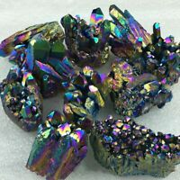 Rainbow Titanium Coated Drusy Quartz Geode Crystal Cluster Home Decor Specimen