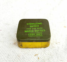 VINTAGE WW2 RARE STERILIZING OUTFIT USE WITH WATER BOTTLES ADV. TIN BOX- MINT