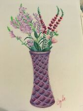 COLORED PENCIL drawing   flowers in purple vase
