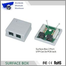RJ45 Cat5e Surface Wall Mount Ethernet Jack 2 Port 8P8C -100% New
