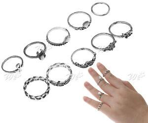 10-stk. Ringe Fingerring Fingerspitzenring Knöchelring Obergelenkring Silber