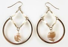 £35 Minimalist Gold White Brown Mother Of Pearl Shell Round Hoop Drop Earrings