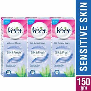 Veet Silk & Fresh Hair Removal Cream, Sensitive Skin -50 g (Pack of 3)