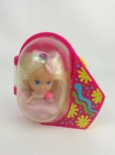 "Little Kiddles 2"" Doll with Clip On Case Blond w Blue Eyes Vintage 90's Tyco Toy"