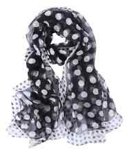 Silk Scarf Black and White Polka Dot Print