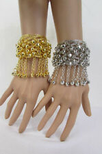 Women Silver Gold Metal Cuff Fashion Bracelet Chains Bells Dancing Jewelry Balls
