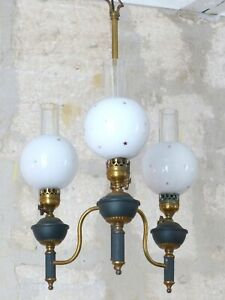 20TH Vintage French 3 Arms Ormolu Brass Chandelier Ceiling Empire Style Opaline