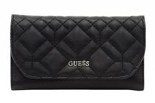 Guess Women's Ines Slim Quilted Black Clutch Tri-Fold Wallet