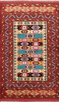 Geometric Traditional Turkoman Hand-knotted Area Rug Wool Oriental 4'x5' Carpet