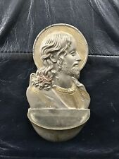 Vintage Antique Holy Water Font Pewter Gold Paint Jesus Christianity Christ RARE
