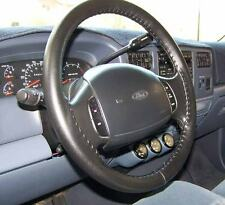 CHARCOAL Genuine Leather Steering Wheel Cover for Ford Wheelskins Size AXX