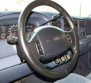 CHARCOAL Leather Steering Wheel Cover for Ford Wheelskins Size AX