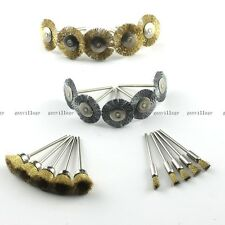 20PC FLAT Steel Wire Brass Brush CUP PEN Shape Brushes Wheel Rotary Tools Kit