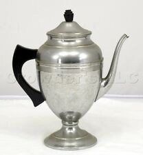 "Vintage Polished Aluminum Metal Teapot Kettle Pitcher w/ Lid - 9.5"" inches Tall"
