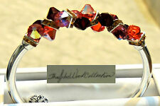 Sterling Silver Tube Bracelet W/Swarovksi Bottom Drilled Bicone Bangle