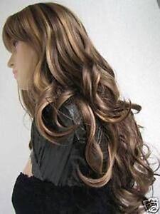 ZWJF185  health brown mix long curly women's HAIR wig wigs for women