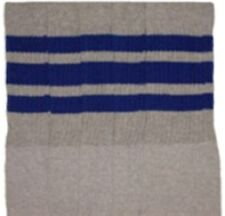 "22"" KNEE HIGH GREY tube socks with ROYAL BLUE stripes style 1 (22-57)"
