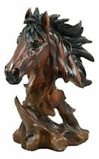 "Wild Stallion Horse Bust Statue 11""h Resin Decor in Faux Wood Dark Mahogany"