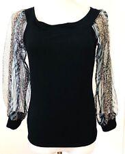 Yvon Of Ft Lauderdale Women's Top S Black Knit Sheer Animal Print Sleeves  #P125