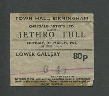 1972 Jethro Tull concert ticket stub Birmingham UK Thick As A Brick Rare