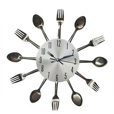 Stainless Steel Creative Personalized Kitchen Knife Fork Wall Clock 6971U