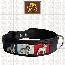 WOZA Premium French Bulldog Collar Full Leather Padded Genuine Cow Napa  HM268