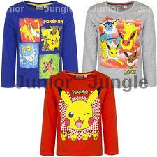 New boys licensed Pokemon long sleeve t-shirts crew neck cotton 4-12 years bnwt