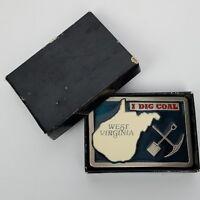 I Dig Coal West Virginia Belt Buckle Heavy Metal Green Epoxy Inlay BU29