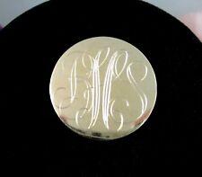 """ANSON 12K Gold Filled MONOGRAM PIN Vintage Brooch BHS BSH Goldtone Round 1 1/8"""""""