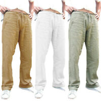 Men Sports Cotton Linen Drawstring Straight Loose Sweatpants Trousers Pants