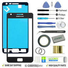 SAMSUNG GALAXY S2 Black Replacement Screen Front Glass lens Repair Kit+ 2mm Tape