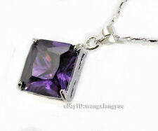 Charming!14x14mm Amethyst Square Gemstone Inlay Pendant Necklace AAA Grade
