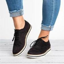 Vintage Women Ladies Casual Flats Lace-Up Brogues Pumps Work Smart Shoes Loafers