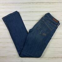 Women's Express Barely Boot Stella Low Rise Denim Jeans sz 4 blue distressed