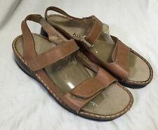 Kumfs Tan Sandals Women's 8-8.5/39 Stretch Leather Comfort Walking Sandals Strap