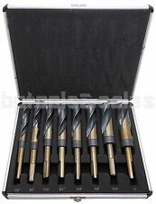 "8pc HSS Cobalt Silver & Deming Drill Bits Set, Large Size 9/16"" to 1"", Reduced 1"