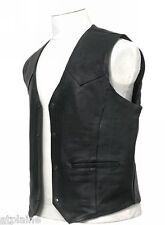 GILET CUIR CLASSIC noir doublé Taille 3XL - Style BIKER HARLEY