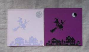 Handmade Quality Gothic Flying Witch Blank Cards. Unique Pagan Wiccan