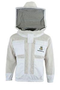 Unisex Premium Protecting 3 Layer Ultra Ventilated Beekeeping Jacket Round Veil