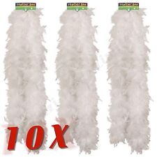 10X White Feather Boa Burlesque Hen Night Halloween Fancy Dress Party UK Job Lot