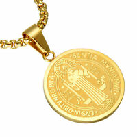 "Necklace Chain 22""Stainless Steel Saint St. Benedict Oval Medal Men's Pendant"