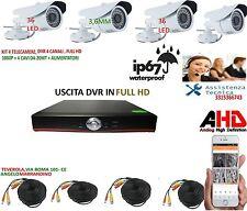 KIT VIDEOSORVEGLIANZA AHD IP CLOUD DVR 4 Ch  4 TELECAMERE HD INFRAROSSI 1.3 MPX