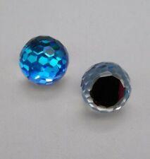 2pc Swarovski Crystal Bermuda Blue 10mm Disco Ball 4861 Vintage 3/4 Flatback