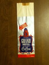 Vintage Grand Hotel Paper Coffee Bag, Empty Old Colorful