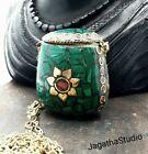 Tibetan vintage snuff perfume bottle long necklace, Malachite &  Coral