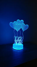 Love 3D illusion 7 Color LED Light Night Change Table Desk Lamp