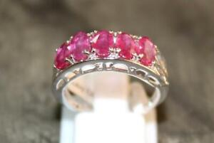 Sterling Silver Ruby Band 4x6 mm oval Handmade silver ruby Ring 5 Stone ring